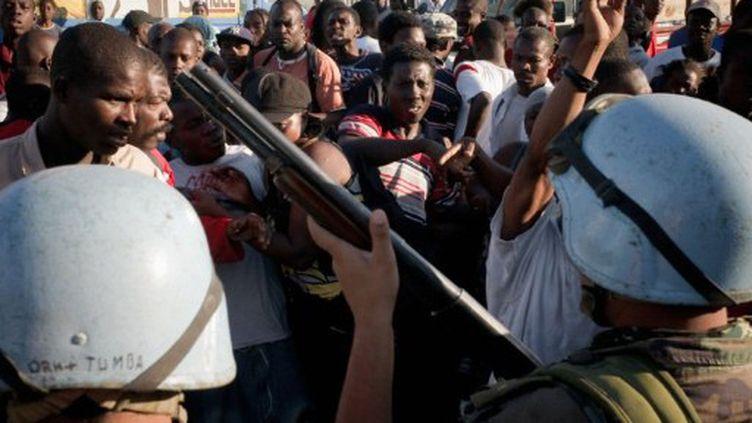 Des Casques bleus uruguayens à Port-au-Prince (archives) (AFP PHOTO - JEAN-PHILIPPE KSIAZEK)