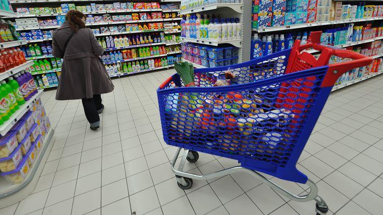 Une personne fait ses courses le 20 janvier 2012 dans un supermarché de Bailleul (Nord). (PHILIPPE HUGUEN / AFP)