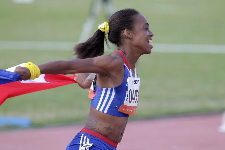 Mandy François-Elie lors du championnat du monde d'athlétisme paralympique à Vénissieux (Rhône), le 24 juillet 2013. (MAXPPP)