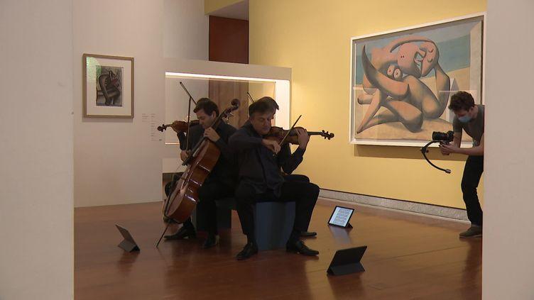 Le quatuor Debussy enregistre un concert au milieu d'oeuvres de Picasso au Musée des Beaux-Arts de Lyon pour la Nuit des Musées (France Télévisions / M.Aïssou / S.Adam)