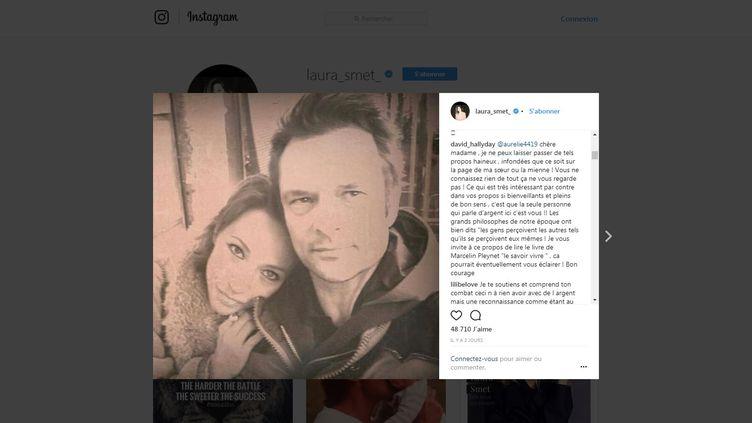 Le message laissé par David Hallyday à une internaute sur la page Instagram de sa sœur, le 13 février 2018. (LAURA_SMET / INSTAGRAM)