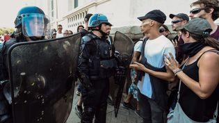 La tension a été palpable toute la journée à Nantes, lors de la manifestation pour dénoncer les violence policière samedi 3 août 2019. (JEAN-FRANCOIS MONIER / AFP)