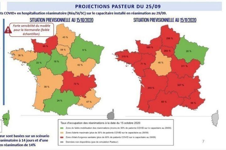 Présentation de projections de l'Institut Pasteur sur le taux d'occupation régional des lits de réanimation par des patients Covid à l'automne 2020. (MINISTERE DES SOLIDARITES ET DE LA SANTE)