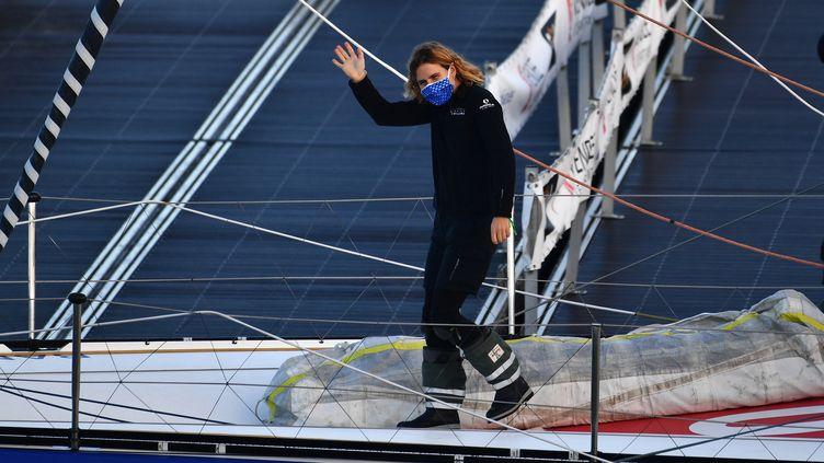 Clarisse Cremer, le 8 novembre dernier, avant son départ des Sables d'Olonne (LOIC VENANCE / AFP)