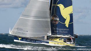L'embarcation de Thomas Ruyant a subi une avarie, dimanche 18 décembre. (MARC DEMEURE / MAXPPP)