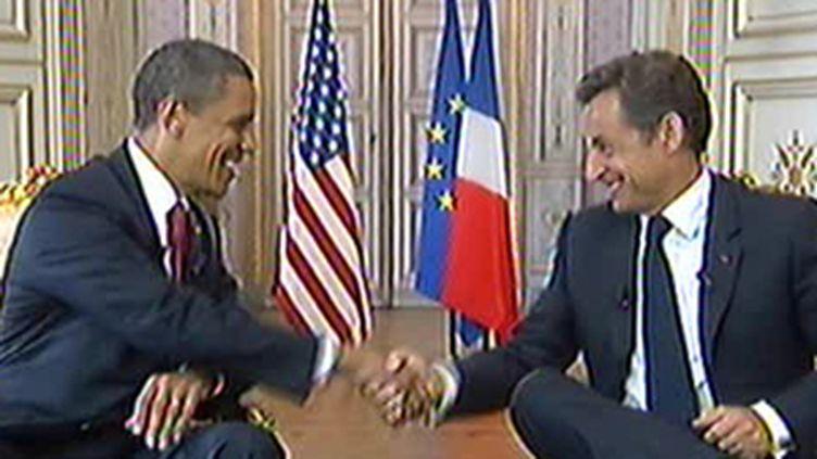 Entretien Obama Sarkozy à la préfecture de Caen le 6 juin 2009 (© France 2)
