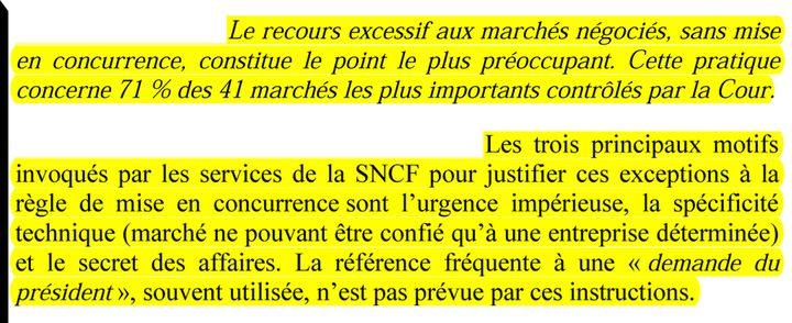 Extrait du rapport de la Cour des comptes. (DR)