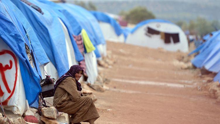 Une réfugiée syrienne dans le camp deQah à la frontière turquo-syrienne, le 31 janvier 2012. (AAMIR QURESHI / AFP)