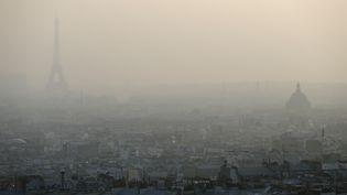 A Paris, la Tour Eiffel est à peine visible à cause de la pollution, le 11 mars 2014. (PATRICK KOVARIK / AFP)