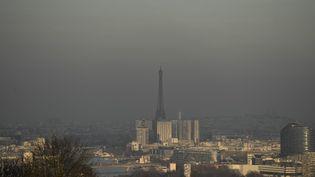 La France, considérée comme mauvaise élève en matière de pollution de l'air, est convoquée comme huit autres pays par la Commission européenne. Ci-contre, un nuage de pollution au-dessus de Paris en décembre 2016. (PHILIPPE LOPEZ / AFP)