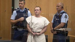 Brenton Tarrant lors de son procès à Christchurch (Nouvelle-Zélande), le 13 juillet 2020. (MARK MITCHELL / AFP)
