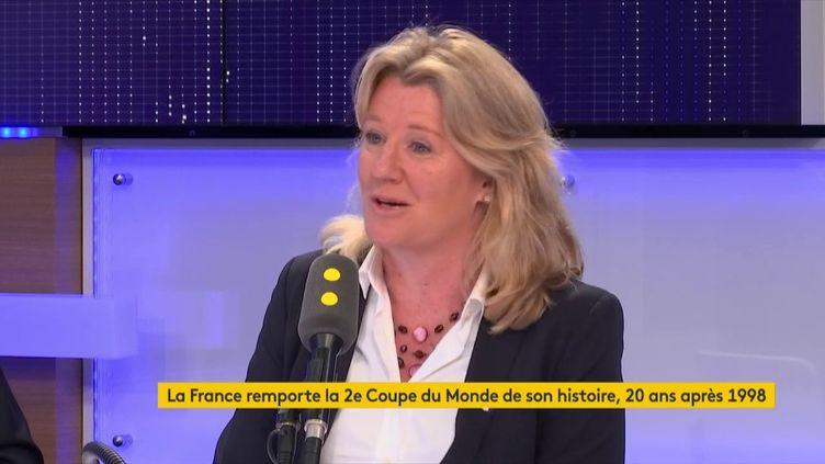 Brigitte Henriques, vice-présidente de la Fédération française de football (FFF), invitée de franceinfo le 16 juillet 2018. (RADIO FRANCE / FRANCE INFO)