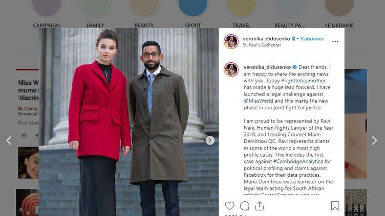 """""""Nous demandons le changement des règles"""" de Miss Monde, a affirmé sur son compte Instagram Veronika Didoussenko. (VERONICA DIDOUSSENKO / INSTAGRAM)"""