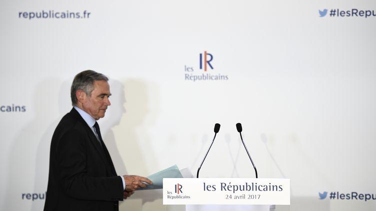 Le secrétaire général des Républicains au siège du parti. (MARTIN BUREAU / AFP)