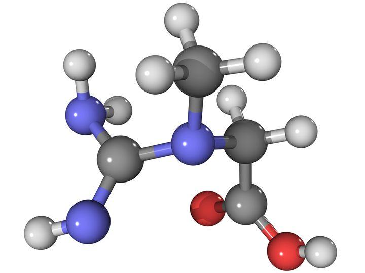 Schéma scientifique d'une molécule de créatine. (LAGUNA DESIGN / NSP / AFP)