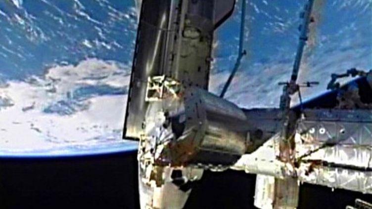 La navette Atlantis à l'approche de l'ISS (AFP - Nasa TV)