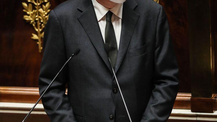 Jean Castex, le Premier ministre, présente la stratégie vaccinale du gouvernement devant l'Assemblée nationale, mercredi 16 décembre. (MOHAMMED BADRA / EPA)