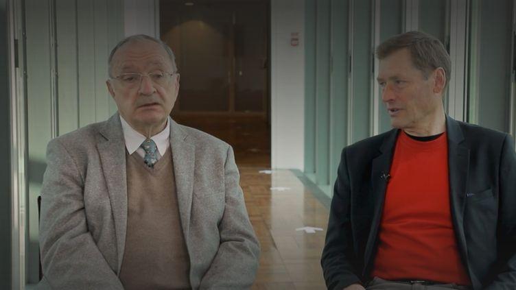 Serguei Jirnov, ancien membre du KGB et SVR et François Waroux, ex-membre du SDECE puis de la DGSE, ont écrit ensemble un livre. Ils racontent leur histoire et partagent leurs souvenirs face aux journalistes de France Info. (FRANCE 3)