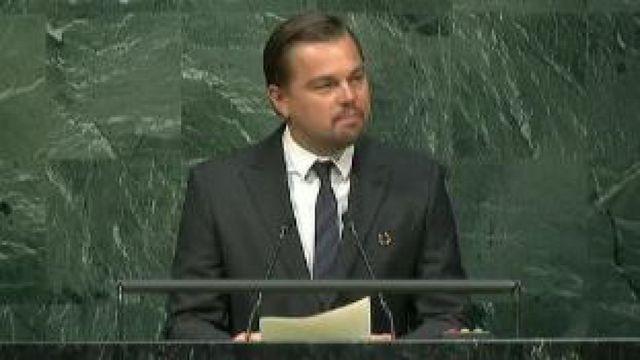 """""""Le monde nous regarde, il est temps d'agir"""", le plaidoyer de Leonardo DiCaprio à la tribune de l'ONU sur le climat."""