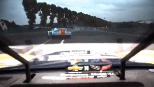 Capture d'écran d'une vidéovue du concurrent qui suivait le pilote danois Allan Simonsen, mort lors des 24h du Mans, le 22 juin 2013. (YOUTUBE / FRANCETV INFO)