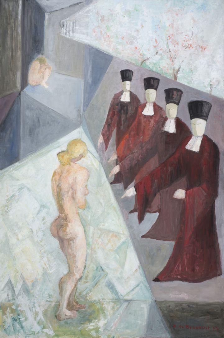 Les femmes soufrent. Les hommes jugent - 1977 - Huile sur toile - collection privée - 130x196 cm  (Ch. KEMPF)