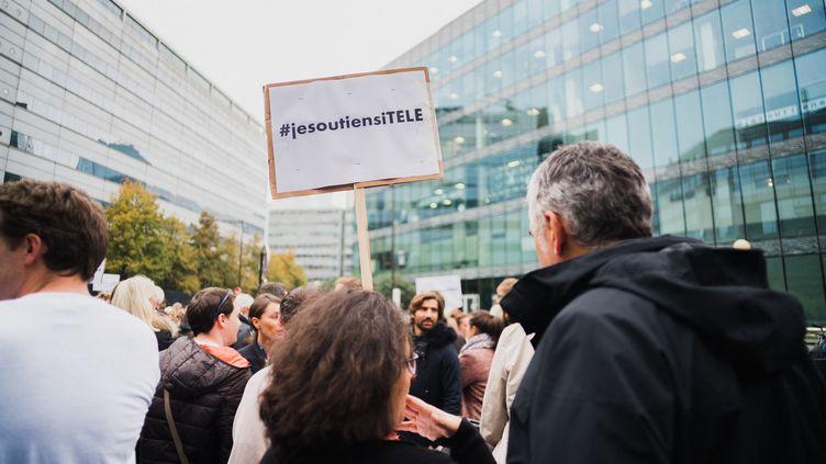 Assemblée générale des salariés d'iTélé, le 25 octobre 2016, à Boulogne-Billancourt. (SIMON GUILLEMIN / HANS LUCAS / AFP)