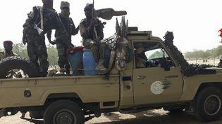 Des soldats tchadiens à 25 km de N'Djamena, le 3 janvier 2020. (- / AFP)