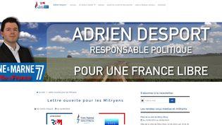 Capture d'écran du site internet d'Adrien Desport, ex-numéro 2 du FN dans la Seine-et-Marne,le 10 juin 2015. (ADRIENDESPORT.FR)