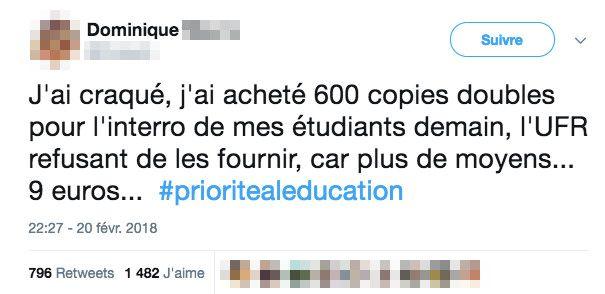 Le tweet de Dominique, professeure d'université, publié le 20 février 2018. (TWITTER)