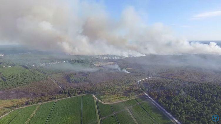 L'incendie de Saint-Jean-d'Illac vu du ciel, le 25 juillet 2015. (CARRIER JORDAN / YOUTUBE)