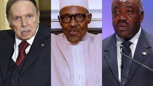 Les présidents Abdelaziz Bouteflika (Algérie) (G) et Muhammadu Buhari (Nigeria) (C), se sont récemment fait soigner à l'étranger. Quant à Ali Bongo (Gabon) (D), il poursuit sa convalescence au Maroc. (ERIC FEFERBERG, BAYO OMOBORIOWO, CHRIS JACKSON / AFP)