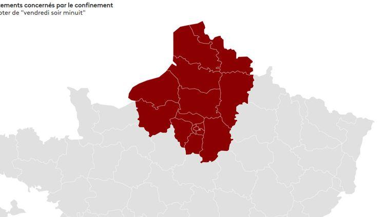 """Un confinement entrera en vigueur dans seize départements à partir du 19 mars 2021 à """"minuit"""". (FRANCEINFO)"""