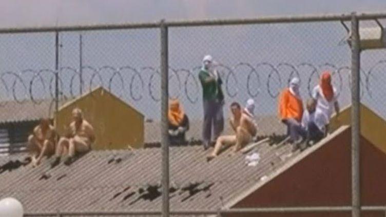 Capture d'écran montrant des surveillants nus menacés par des mutins de la prison deGuarapuava, dans l'Etat duParana (sud du Brésil), le 13 octobre 2014. ( ADNAN ABIDI / REUTERS)
