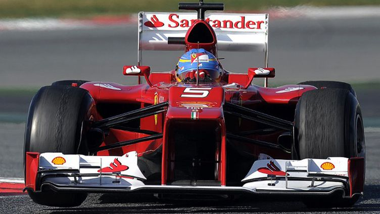 La Ferrari F2012 #5 pilotée par Fernando Alonso (Ferrari). La #6 sera pilotée par Felipe Massa. (LLUIS GENE / AFP)