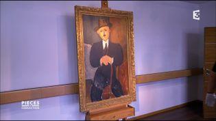 """""""Homme assis (appuyé sur une canne)"""", Modigliani. (FRANCE 3 / FRANCETV INFO)"""