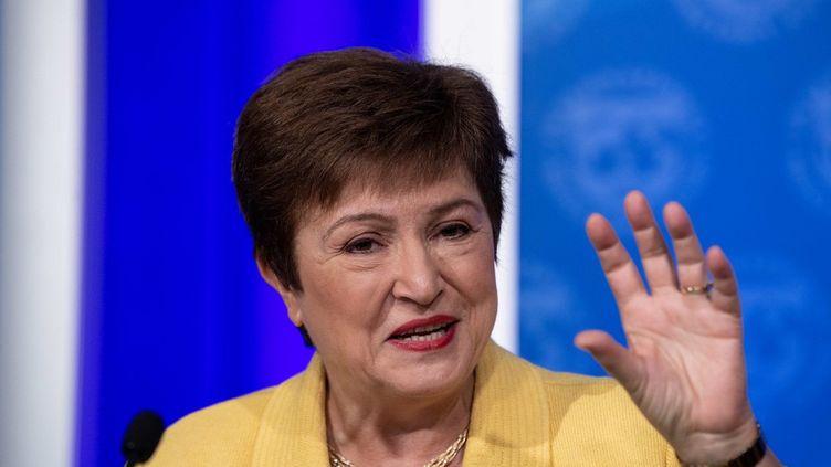 La patronne duFonds monétaire international, Kristalina Georgieva, lors d'une conférence de presse sur la crise du coronavirus à Washington (Etats-Unis), le 4 mars 2020. (NICHOLAS KAMM / AFP)