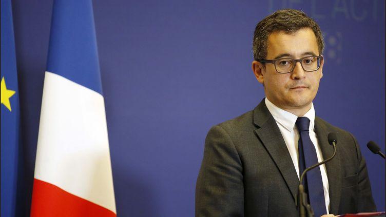 Le ministre de l'Action et des Comptes publics, Gérald Darmanin, lors d'une conférence de presse à Paris, le 28 septembre 2017. (MAXPPP)