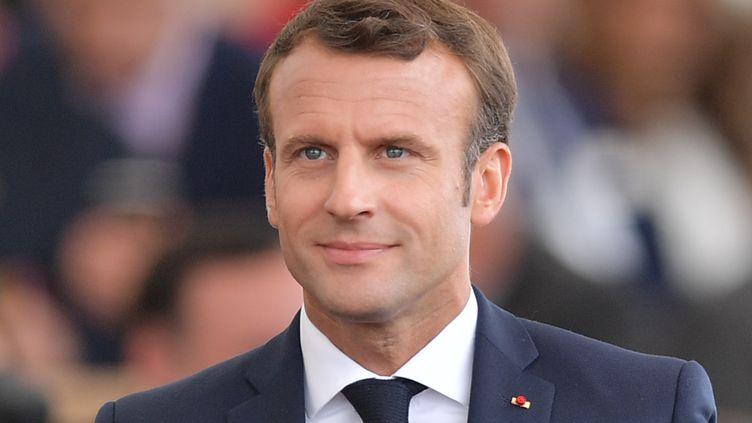 Emmanuel Macron, à Portsmouth (Royaume-Uni), le 5 juin 2019. (DANIEL LEAL-OLIVAS / AFP)