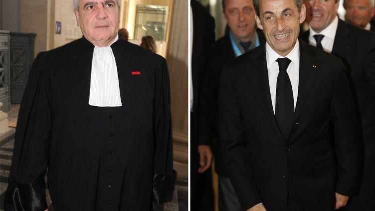 Photomontage de Thierry Herzog (G), à Bordeaux, le 25 avril 2013, et Nicolas Sarkozy (D), à Nice, le 10 mars 2014. (MEHDI FEDOUACH-VALERY HACHE / AFP)