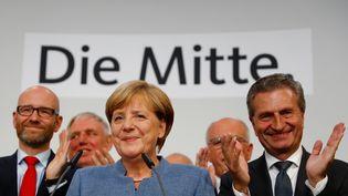La chancelière allemande, Angela Merkel, après sa victoire aux législatives, le dimanche 24 septembre 2017 à Berlin (Allemagne). (KAI PFAFFENBACH / X00446)