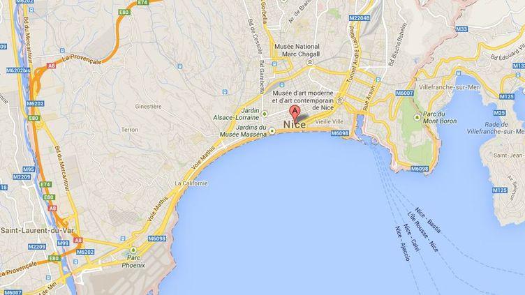 L'incident s'est déroulé dans un quartier de l'est de Nice (Alpes-Maritimes). (GOOGLE MAPS / FRANCETV INFO )