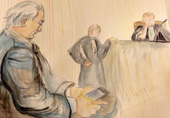 Dominique Strauss-Kahn, au tribunal correctionnel de Lille (Nord), le 12 février 2015. (ELISABETH DE POURQUERY / FRANCETV INFO)