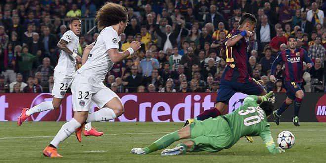 Neymar prend de vitesse la défense parisienne et Sirigu