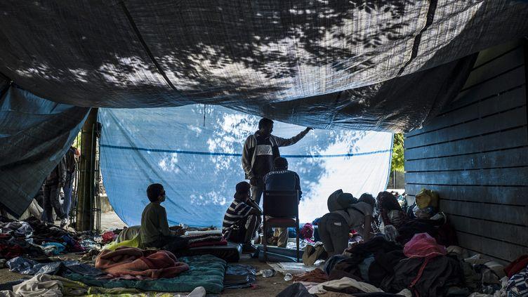 Des migrants installés dans les jardins d'Eole, le 13 juin 2015, à Paris. (MAXPPP)
