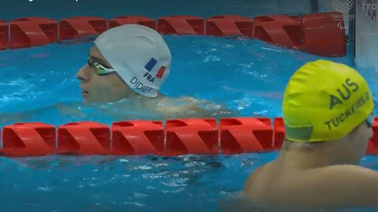 Ugo Didier qualifié pour la finale, lors des Jeux paralympiques de Tokyo, le 25 août 2021. (franceinfo: sport)
