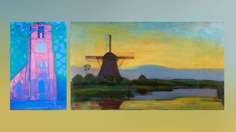 """Piet Mondrian : à gauche, """"Clocher en Zélande, 1911, à droite, """"Moulin dans le crépuscule"""", vers 1907-1908 (A gauche et à droite © Kunstmuseum Den Haag, The Hague, the Netherlands)"""