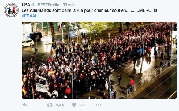 (Fausse marche de soutien en Allemagne © Capture d'écran Twitter)