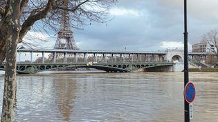 La Seine en crue, à Paris, le 26 janvier 2018. (DENIS MEYER / HANS LUCAS / AFP)
