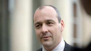 Le numéro un de la CFDT, Laurent Berger, sur le parvis de l'Elysée, le 10 juin 2014. (ALAIN JOCARD / AFP)
