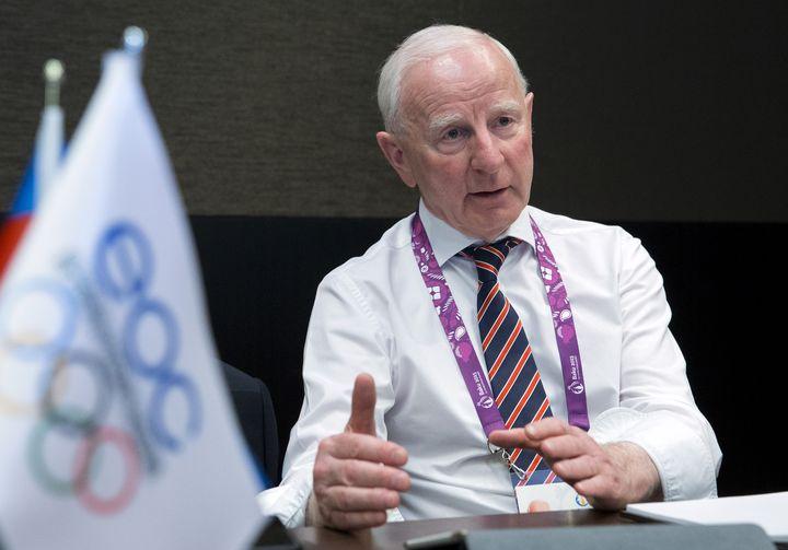 Patrick Hickey, le président du comité olympique irlandais, lors d'une interview à Baku le 24 juin 2015. (JACK GUEZ / AFP)